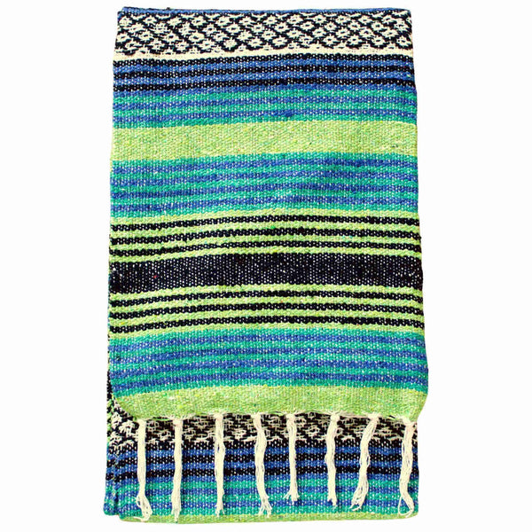 Eco-friendly recycled Cotton Blanket-Throw with lime green and blue stripes. 135 x 180cm