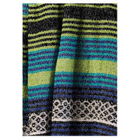 Recycled Cotton Blanket-Throw with lime green and blue stripes.  135 x 180cm