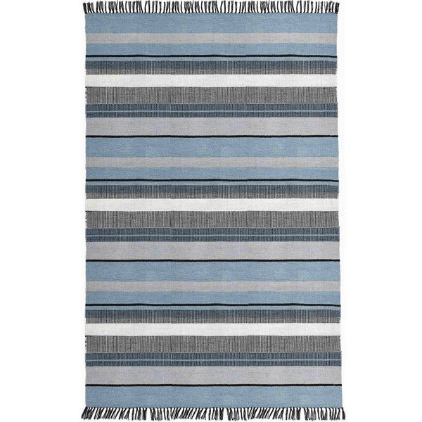Stripey blue, black and white rectangular rug, birds-eye view.  Made by Liv Interior from recycled plastic bottles (PET).  Goodweave certification ensures it is ethical.