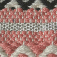 Close up showing the weave of a pink recycled plastic bottle eco rug.