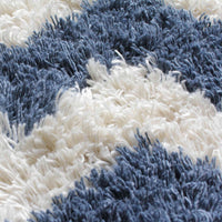 close up showing blue and white zig zig shaggy rug, sustainably made from recycled plastic bottles. Environmentally friendly.