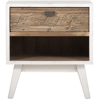 Front view of side table containing one drawer and empty space below for books.  The front is oak-coloured, the rest of the exterior and four legs are in a distressed white colour.  Nail marks and other imperfections are visible because the eco friendly pine wood is from reclaimed shipping pallets.