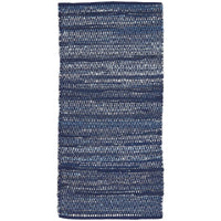 A runner rug measuring 70 x 140cm.  Sustainably made from recycled blue demim clothing, woven together to form a unique eco-friendly design.