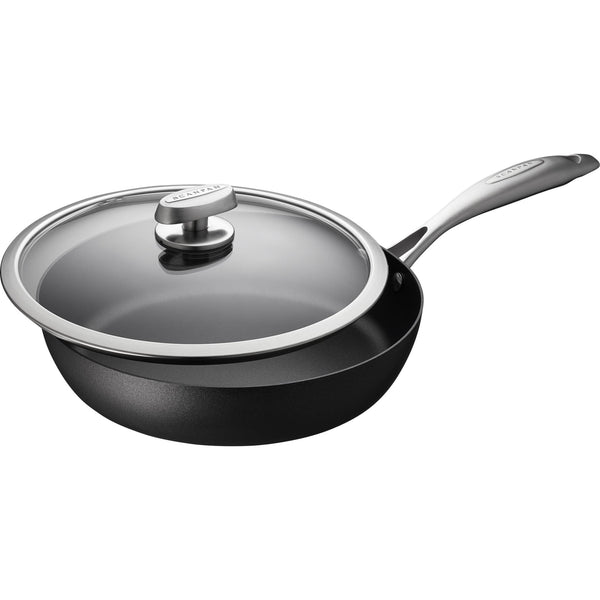 Scanpan Pro IQ 28cm eco friendly recycled aluminium sauté pan, with stainless steel branded handle and a glass lid with metal trim.