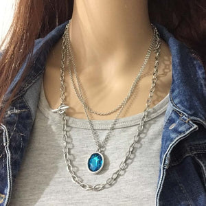 Anslow 2020 Design Fashion Jewelry Romantic Crystal Pendant Multilayer Sweater Chain Necklace For Women Female Gift LOW0092AN