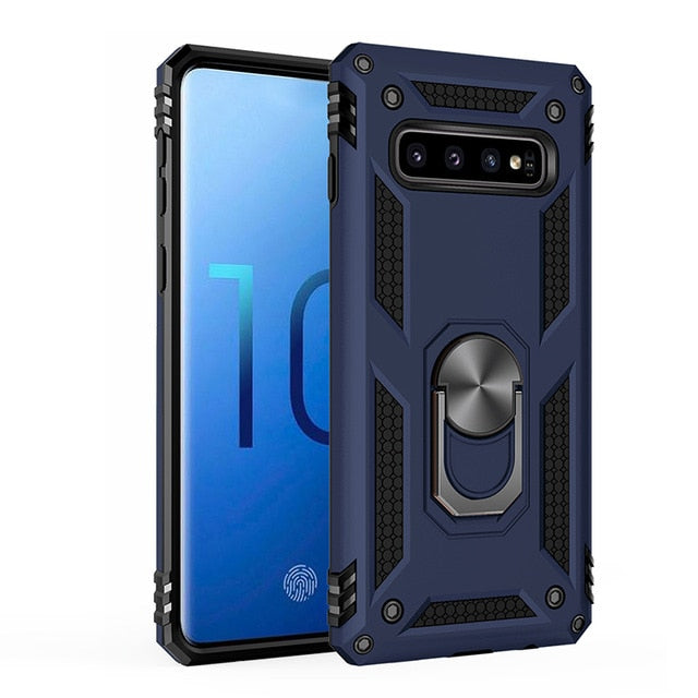 Luxury Armor Shockproof Case For Samsung Galaxy A50 A10 A30 A40 A70 2018 M10 M20 S9 S10 S8 Note 8 9 Car Holder Ring Case Cover