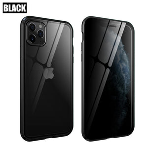 Privacy Tempered Glass Magnetic Case for iPhone 11 Pro Max 7 8 Plus XR Anti Peep Magnet Metal Bumper Full Body Protection Cover