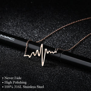 316L Stainless Steel Heartbeat Necklaces & Pendants Career Women High Polished Pendant Letter Love Necklace Friendship Jewelry