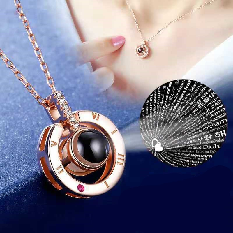 2019 New Arrival Rose Gold & Silver Projection Pendant I Love You 100 Language Necklace Romantic Love Memory Wedding Necklace