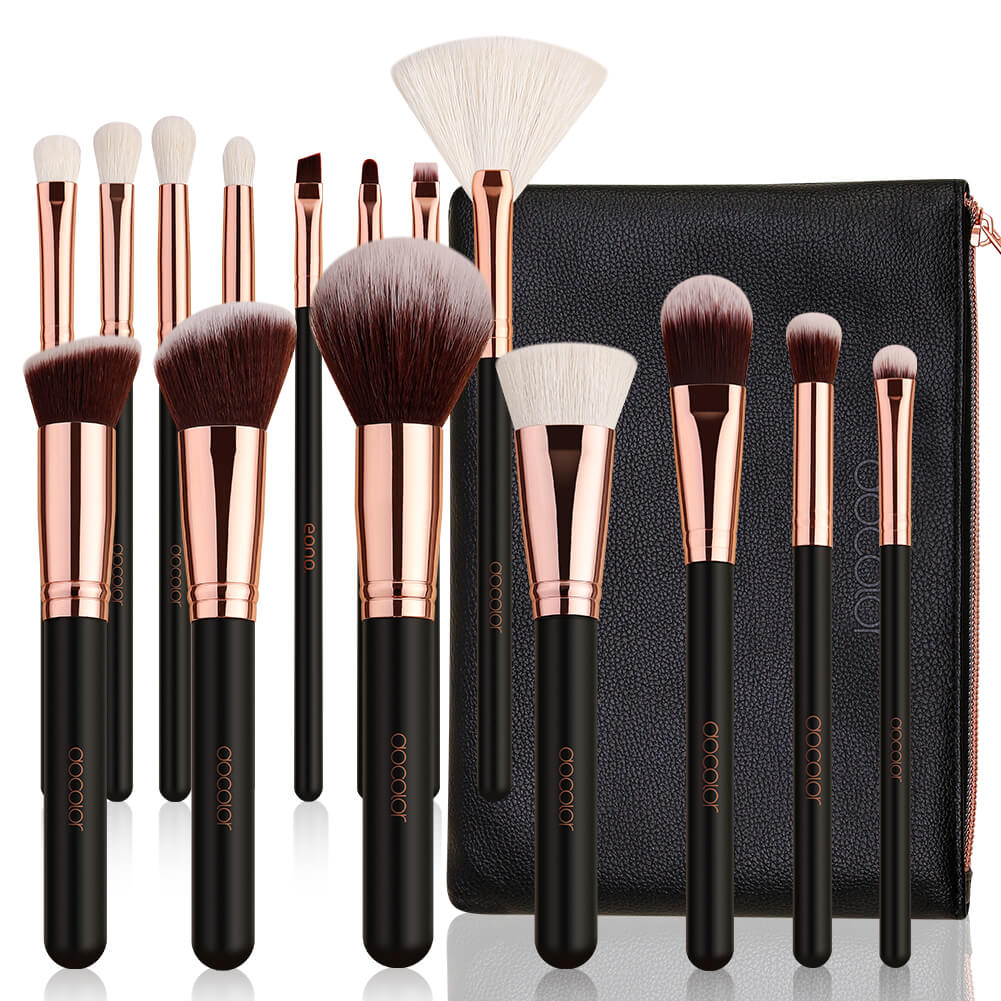 Rose Gold 15 Pieces Makeup Brush Set with  Bag