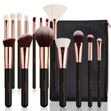 Rose Gold 15 Pieces Makeup Brush Set with Bag - DOCOLOR OFFICIAL