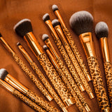 12 Pieces Leopard Makeup Brush Set with Bag DOCOLOR OFFICIAL