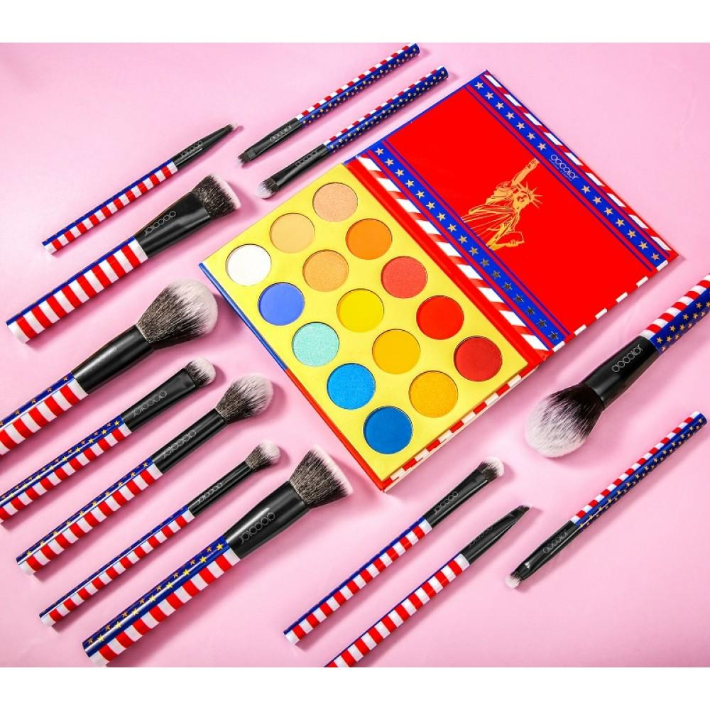 15 Color Eye Shadow Palette and 13 Pieces Makeup Brush Set DOCOLOR OFFICIAL