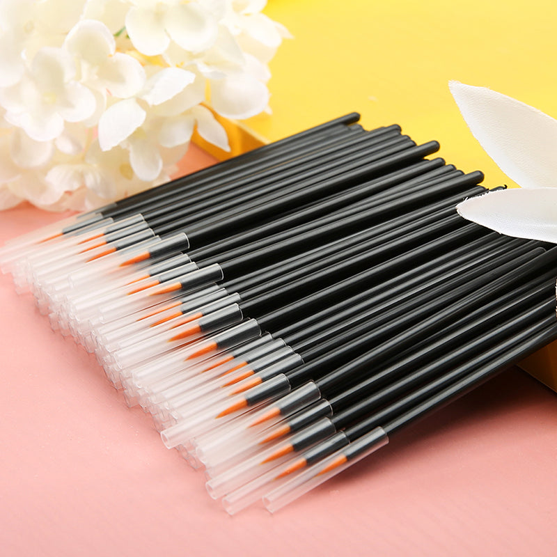 Docolor 100pc Disposable Makeup Eyeliner Brushes(Yellow)