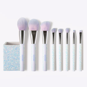 8 Pieces Sparkle Brush Set With Holder (White) DOCOLOR OFFICIAL