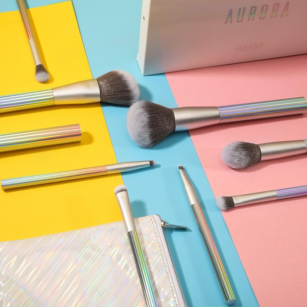 9 Pieces AURORA Makeup Brush Set with Bag (Standard Shipping) DOCOLOR OFFICIAL
