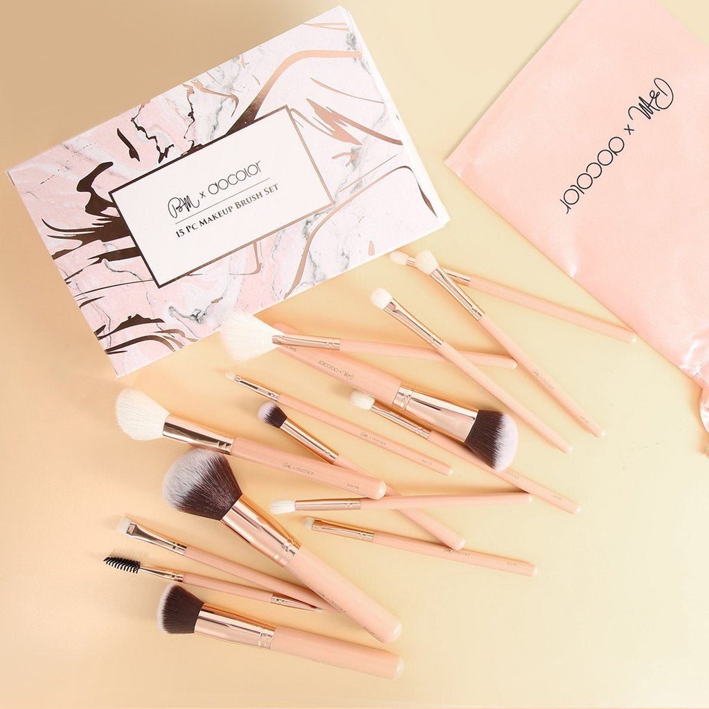 Berenice Makeup x Docolor 15 Pieces Pink Makeup Brush Set DOCOLOR OFFICIAL