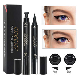 Docolor 2Pcs Fox Eye Makeup Liquid Eyeliner Triangle Seal Eyeliner 2-in-1 Waterproof Eyeliner DOCOLOR OFFICIAL