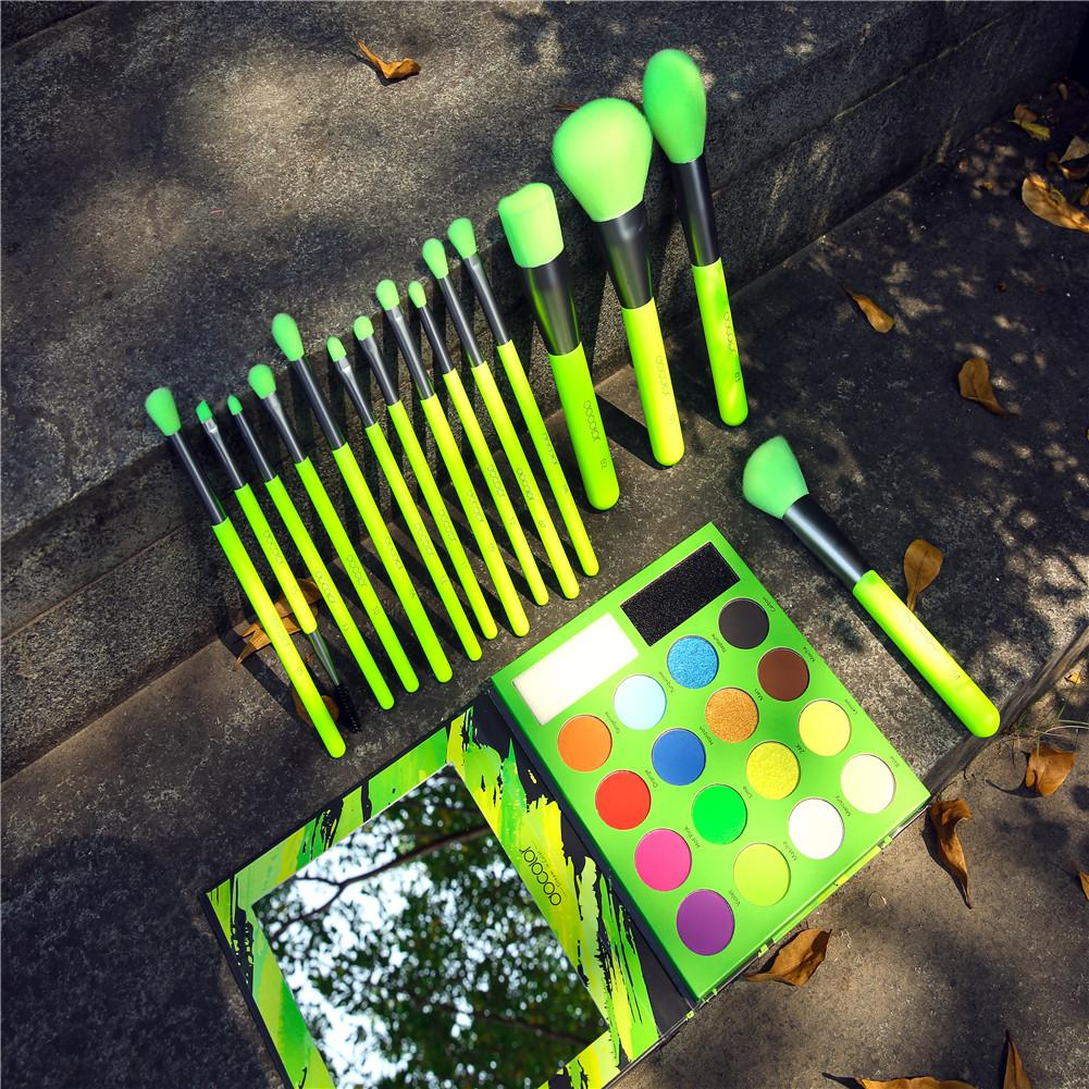 Neon Green - 15 Pieces Syenthetic Brush Set + 16 Color Shadow Palette DOCOLOR OFFICIAL