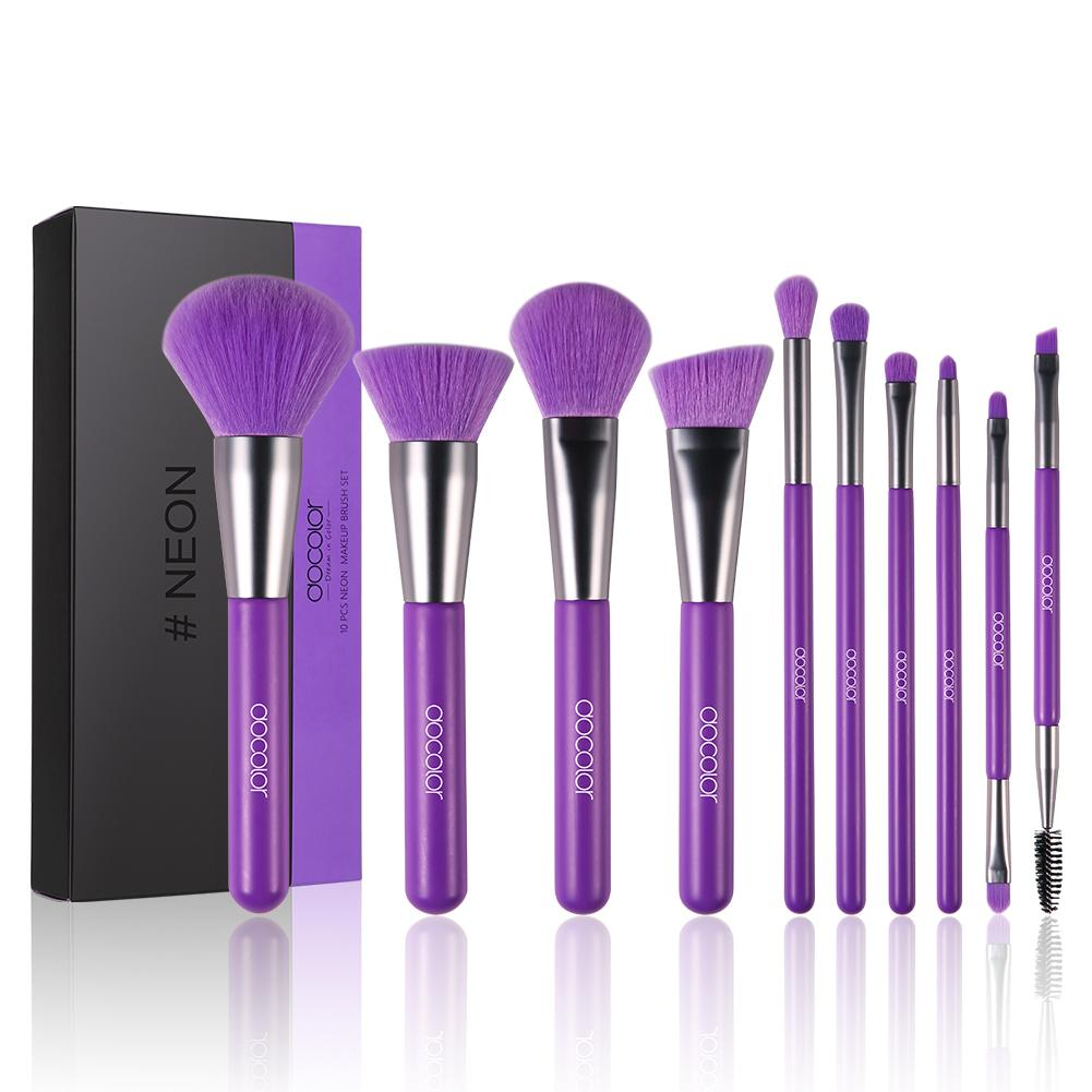 Neon Purple - 10 Pieces Synthetic Makeup Brush Set DOCOLOR OFFICIAL