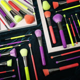 (ONLY ship to USA )Neon Bundle - 3 Sets of 10 Pieces Synthetic Makeup Brush Set (Green, Purple and Peach) DOCOLOR OFFICIAL