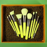 (ONLY ship to USA )Neon Green - 10 Pieces Syenthetic Brush Set DOCOLOR OFFICIAL