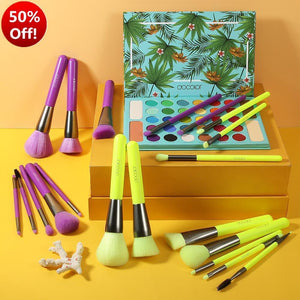 (ONLY ship to USA )Tropical & Neon Collection - 2 Sets Neon Makeup Brush Set & 34 colors Eyeshadow Palette DOCOLOR OFFICIAL