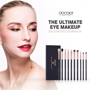 Rose Gold 10 piece Eye Makeup Brush Set DOCOLOR OFFICIAL