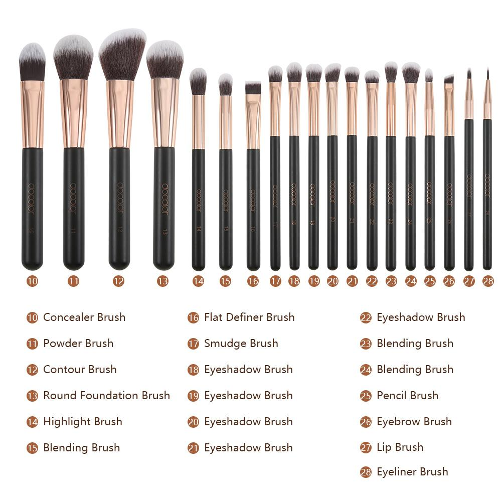 Rose Gold - 28 piece Makeup Brush Set DOCOLOR OFFICIAL
