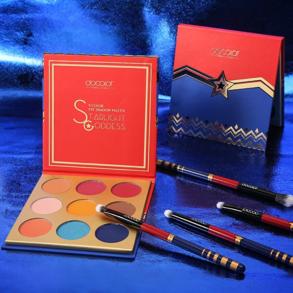 Starlight Goddess 9 Color Shadow Palette and 12 Pieces Brush Set DOCOLOR OFFICIAL
