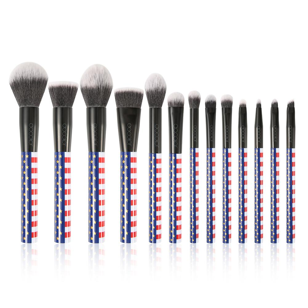 Stars&Stripes - 13 Pieces Makeup Brush Set DOCOLOR OFFICIAL