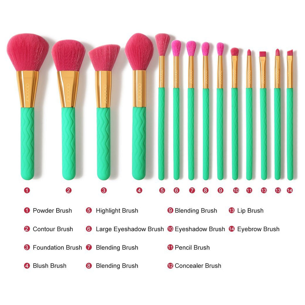 Summer Heat - 14 piece Makeup Brush Set DOCOLOR OFFICIAL