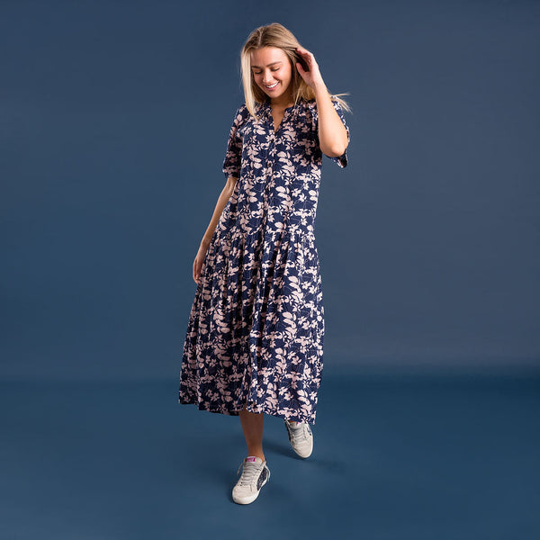 Skylar Dress - Navy & Pink - Kireina Australia