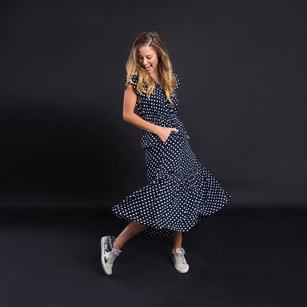 Zoey Dress - Navy and White - Kireina Australia
