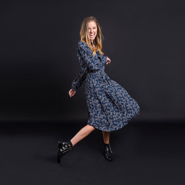 Mavis Dress - Navy Floral - Kireina Australia