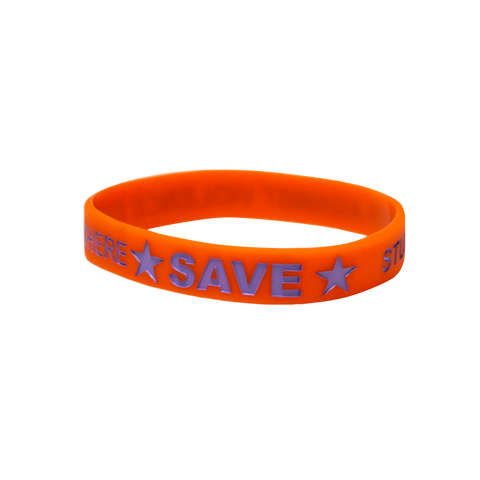CLOSEOUT: 100 Orange SAVE Promise Club Bracelets