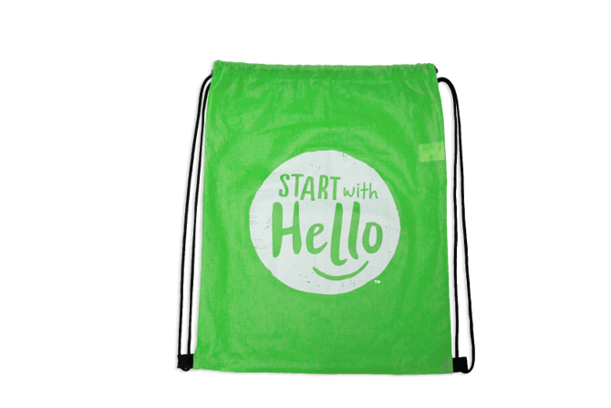 Start With Hello Drawstring Bag