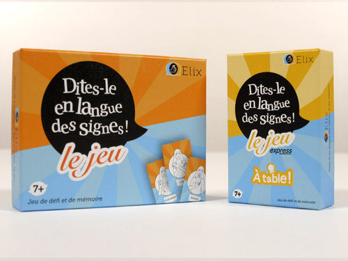 Lot de 2 jeux « Dites-le en langue des signes » + Express « À table »