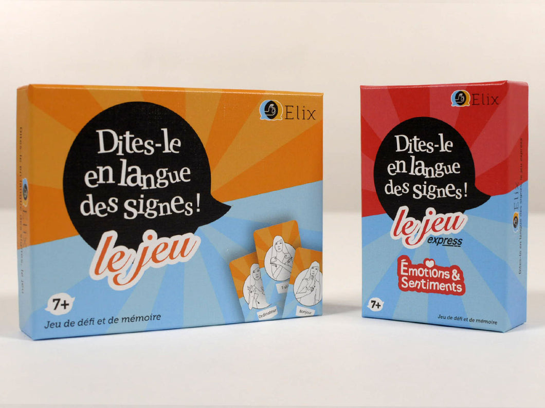 Lot de 2 jeux « Dites-le en langue des signes » + Extension « Émotions & Sentiments »