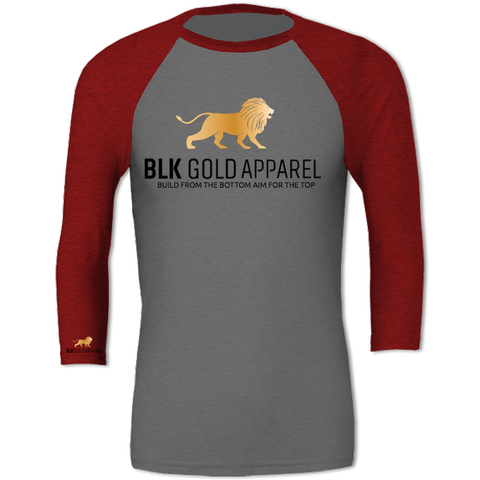 Sleeve Baseball Grey With Red BLK Gold T-shirt