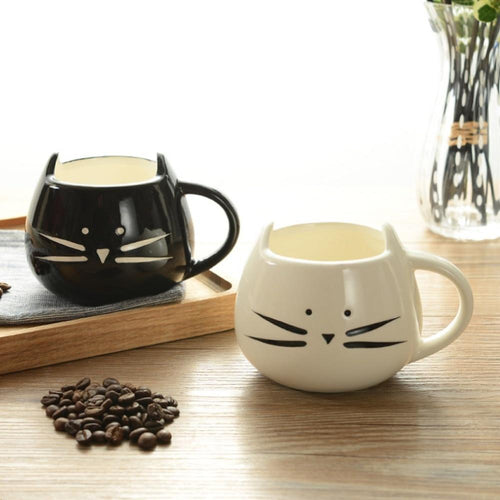 Cute Cartoon Cat Coffee Milk Tea Drink Ceramic Mug Cup White/ Black Lover Kid Gift New Drop shipping My Pets Gate