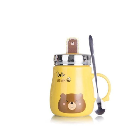 Hot Sale Mobile Phone Holder Animal Ceramics Mugs Coffee Milk Tea Cup Cute Cat Dog Bear Rabbit Mug Couple Drinkware For Children My Pets Gate Yellow 500ml