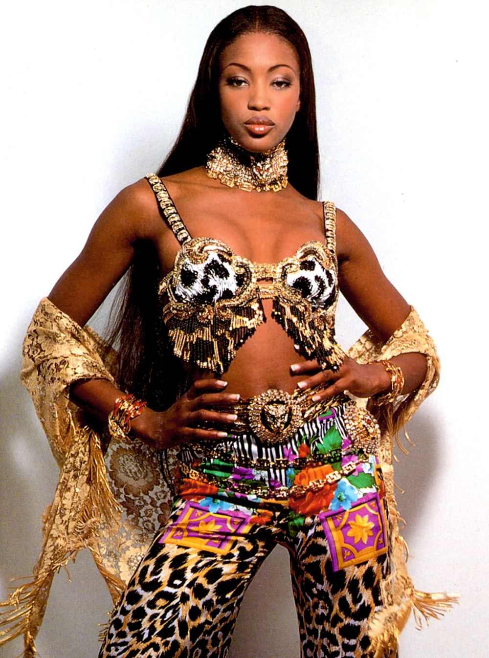 Naomi Campbell in Versace, 90s