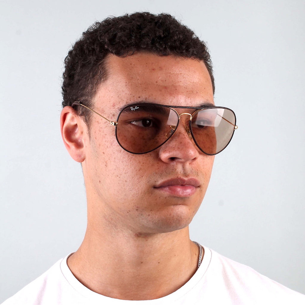 Vintage Ray-Ban Leather-Rimmed Aviators