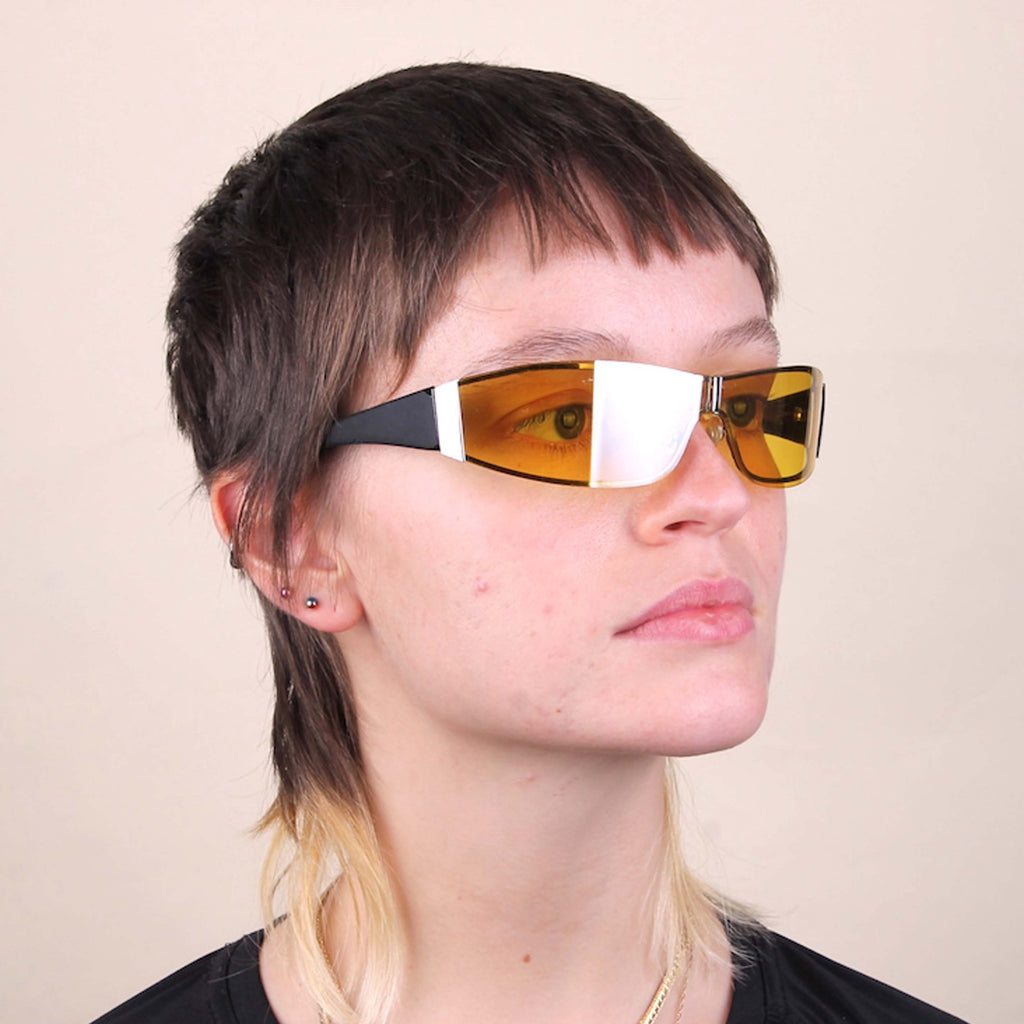 Vintage Y2K Wrap Sunglasses with yellow lenses