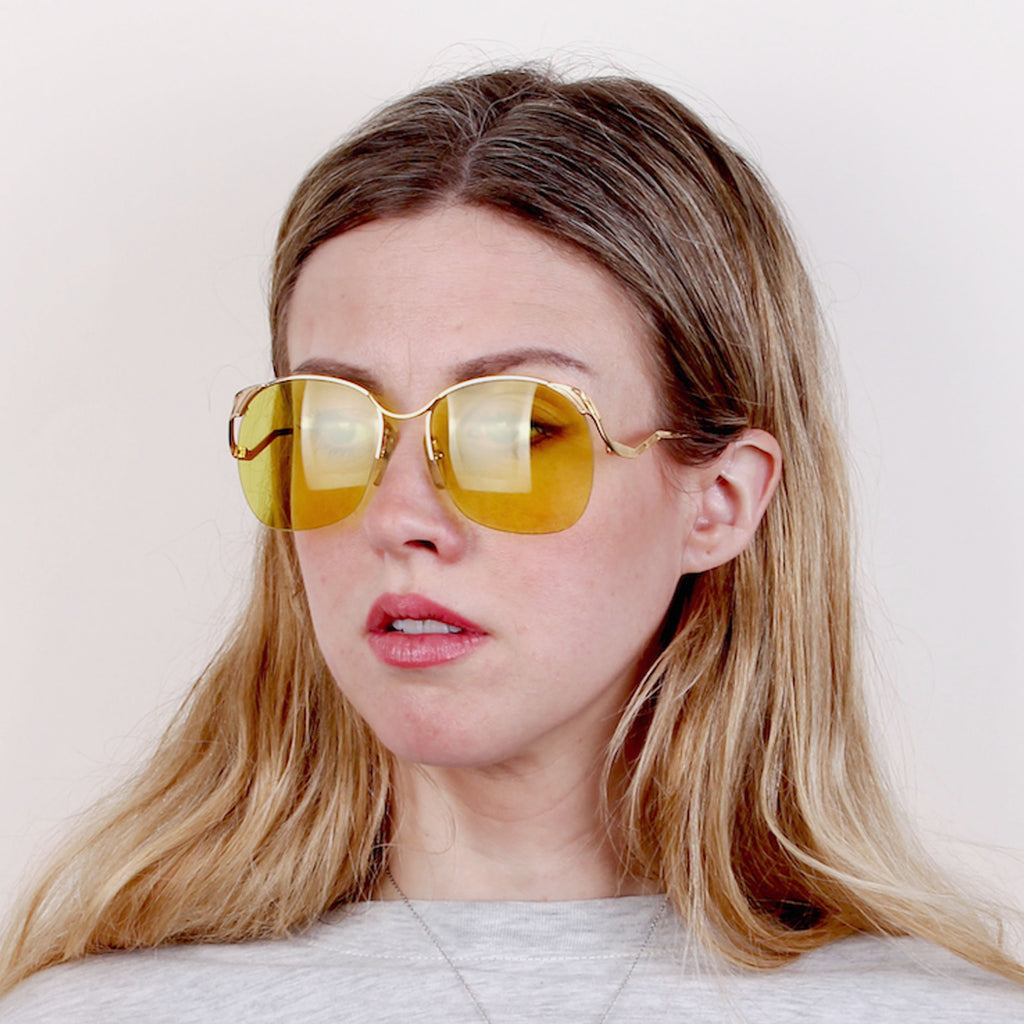 70s Oversized Supra Sunglasses with Yellow Lenses