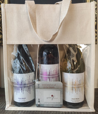 3 Bottle Canvas Bag - Natural/Window