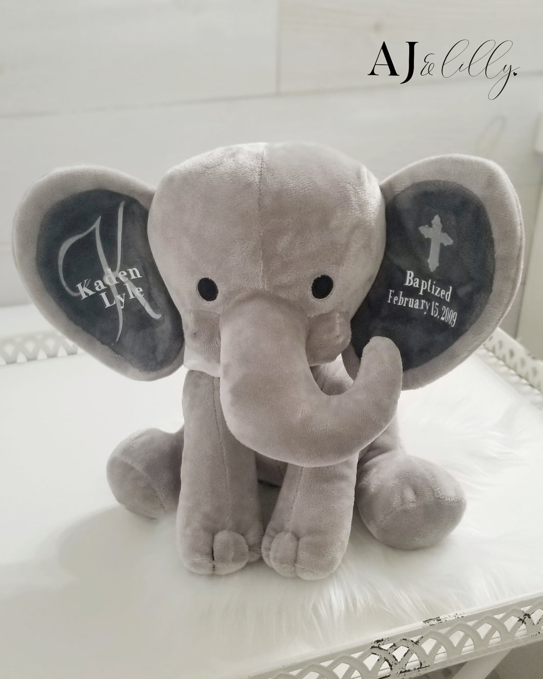 Baptismal Baby Elephant Plush Keepsake