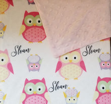 Load image into Gallery viewer, Personalized Pink Owls Baby Blanket