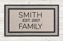 Load image into Gallery viewer, Personalized Doormat- Family Name Est